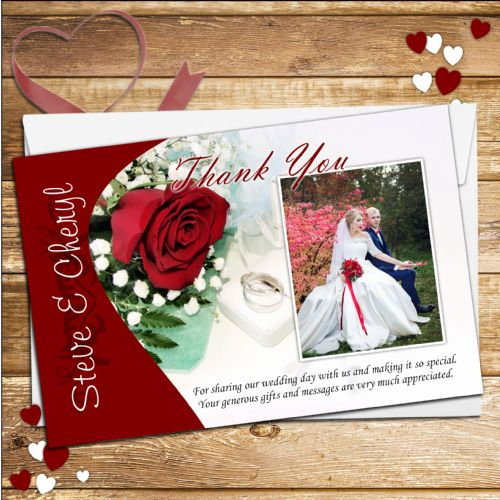 10 Personalised Red Roses Wedding Day Thank you Photo Cards N147